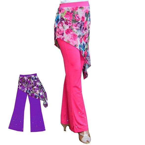 在庫処分品:華やかカラーのブーツカットパンツ パープルとピンク画像