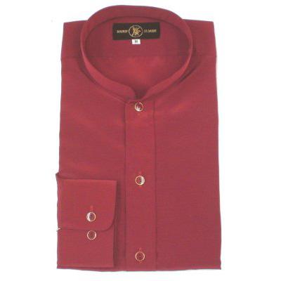 在庫処分品:スタンドカラー レオタードシャツ「長袖」 ワイン(光沢なし)Sサイズ画像
