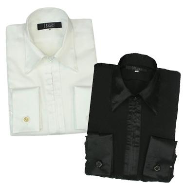 【特価】黒のファスナーレオタードシャツ(襟・前立て・カフスがサテン)Lサイズ画像