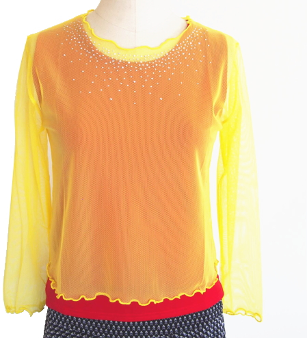 【特価】1枚あると便利なシースルーネット 黄色・Mサイズ(襟元は銀メタル付)画像
