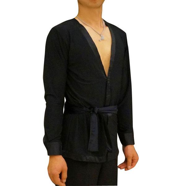 ロゼリス(RIS)メンズ  ラテンシャツ・オーバーブラウス型(ベロアのベルト付き) 【オーダー品】画像