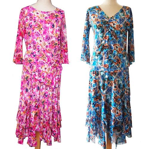 9月30日までの特価品:ローズ柄のセットアップ・社交ダンスウェア(トップスとスカート)画像