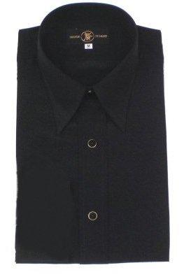 【在庫処分特価】シャツカラー レオタードシャツ「半袖」 黒(光沢なし)M画像