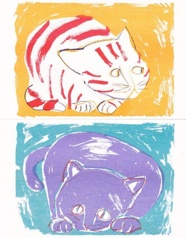 きくちちき 「いちにのさん」大判ポストカード / ねこ2枚セットの画像