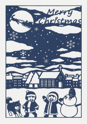 クリスマスカードI(雪の子)画像