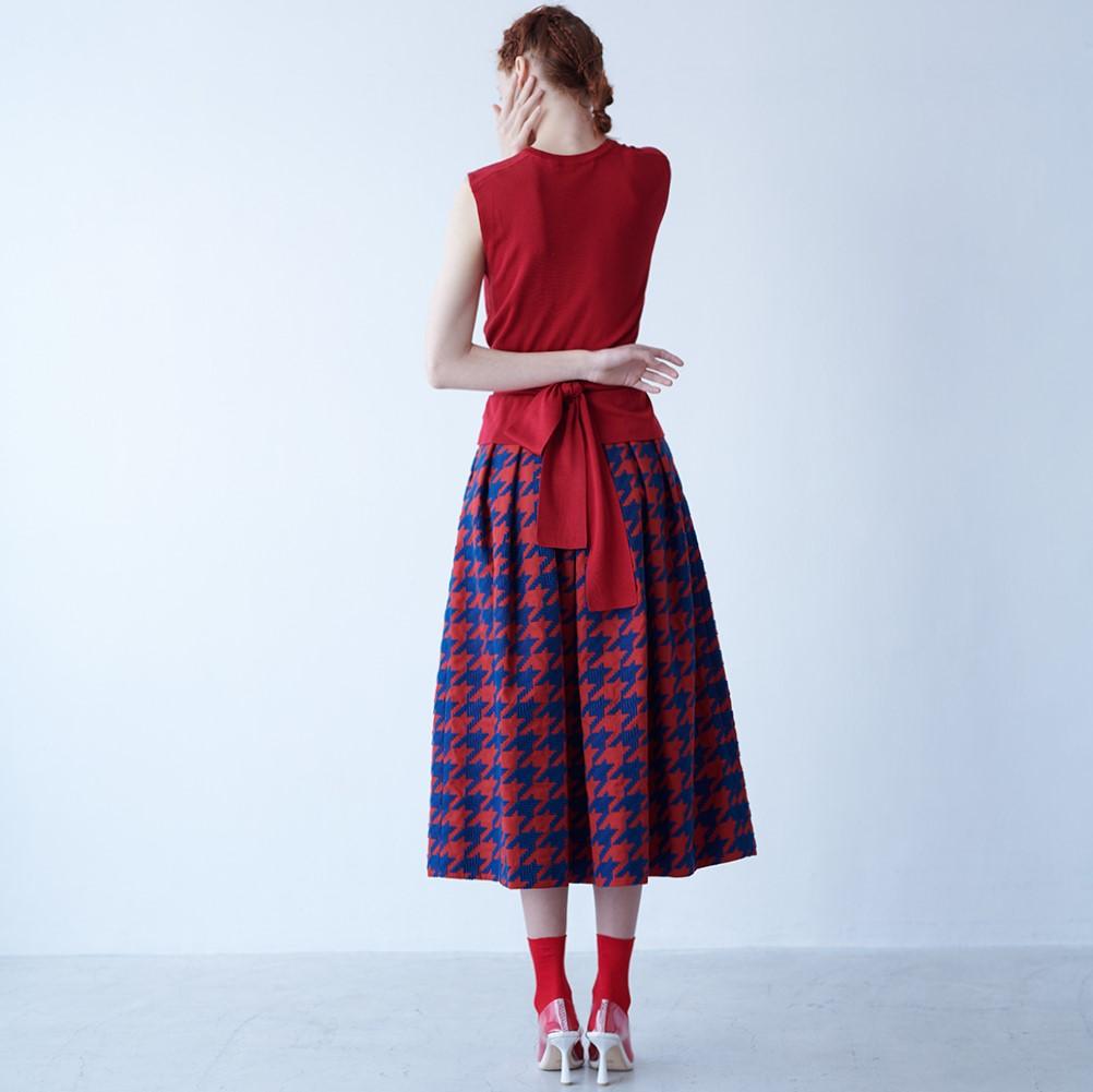 Anna houndstooth red/navy(全2色)画像