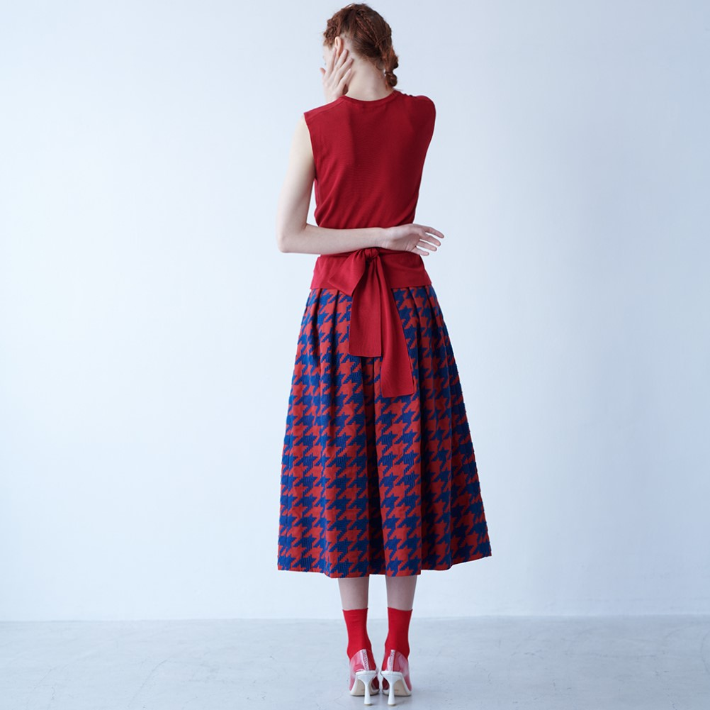 Anna houndstooth red/navy(全2色)画像