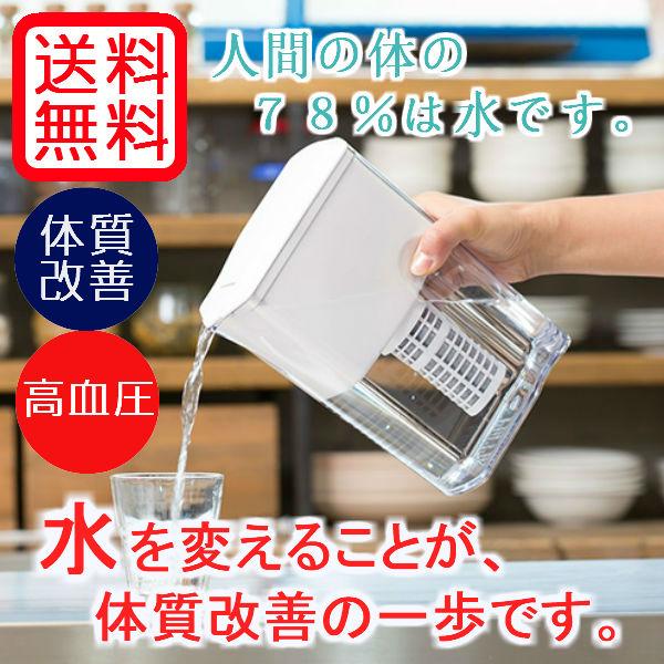 【送料無料】日本初!銀イオン不使用  ULeAU(ウルオ)ポット型浄水器(カートリッジ付)の画像