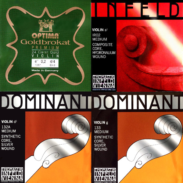 ゴールドブロカット(E) インフェルドレッド(A) ドミナント(DsG) バイオリン弦 4弦セット:【42%OFF】画像