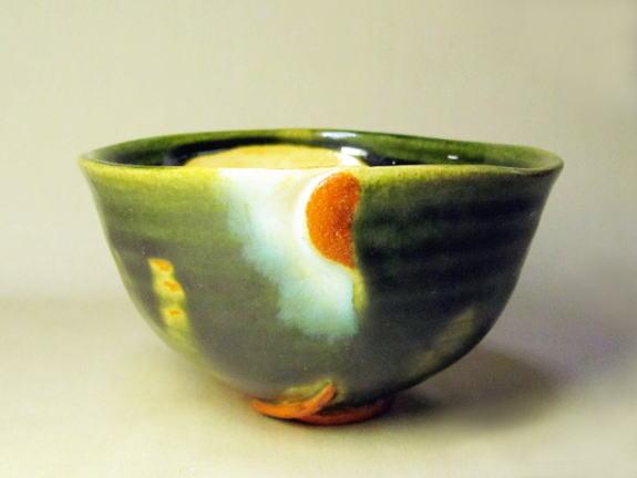 織部大地茶碗(緑山の滝-1) 桐箱付き画像
