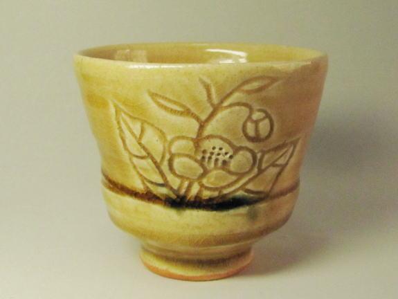 黄瀬戸湯呑み茶碗(茶花) 桐箱付き画像