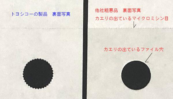 ミシン目加工カエリの比較写真