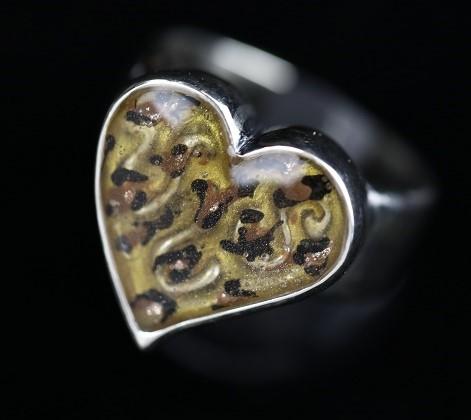 ハート豹柄リング:ブラウンの画像