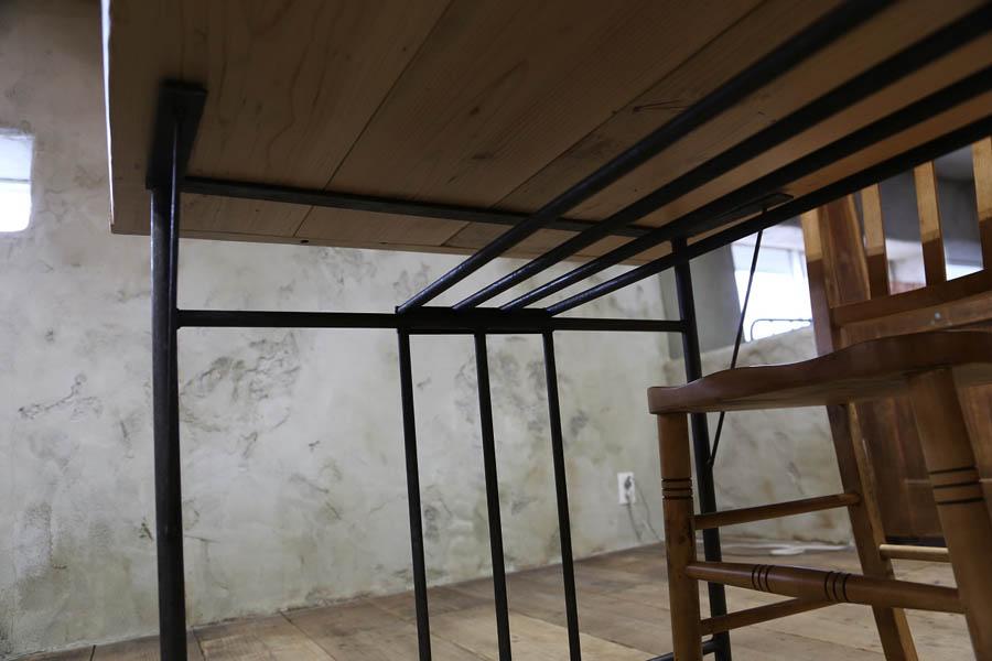 ◇オプションパーツ◇ アイアンテーブル脚 A型・B型用オプション棚(黒皮鉄クリア塗装)画像