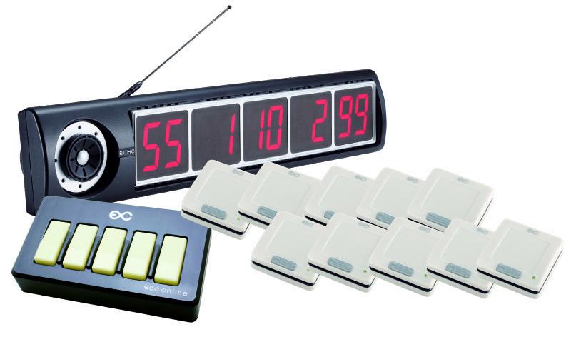 【エコチャイム】受信表示機(ブラック)/角型送信機10台セットの画像
