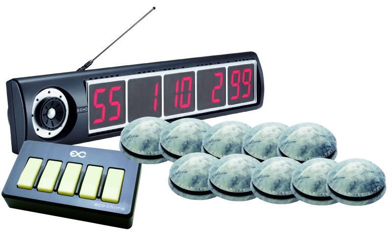 【エコチャイム】受信表示機(ブラック)/丸型送信機10台セットの画像