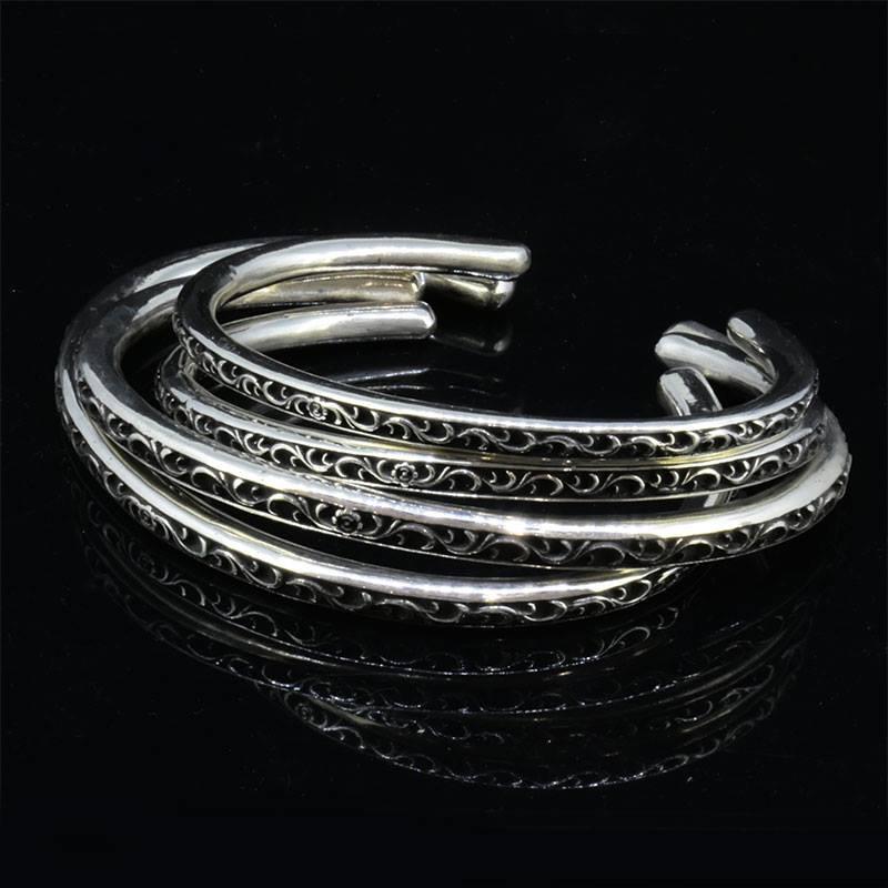 Arabesque Carved Scrolls O Ring Bangle -Narrow-画像